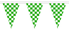 Green and White Chequered Check Polyester Bunting - 5m with 12 Flags
