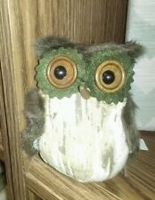 "New 4"" Green Felt, Fur, & Fabric Owl Hanging Decoration Ornament Wreath"