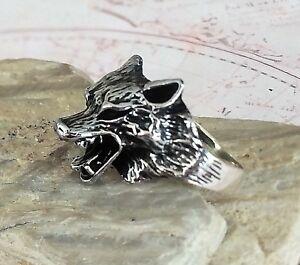 Wolf Head 3D  Solide 925 Sterling Silber Mens Ring Handgefertigt Ottomane AAA Q