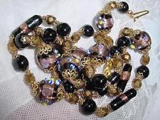 """Venetian Murano Wedding Cake Black Gold Foil Glass Beads Tube 27"""" Necklace #1695"""
