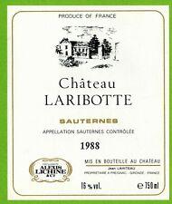 Ancienne Etiquette de vin-Bordeaux-Sauternes(1988)-Château Laribotte-N°455b