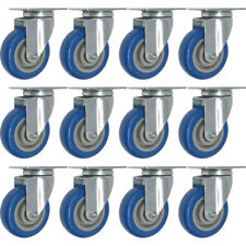 12 Pack 4 Inch Caster Wheels Swivel Plate On BLUE Polyurethane Wheels PU