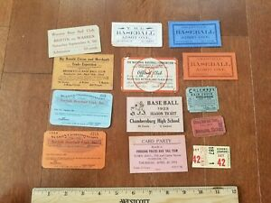 13 1880 to 1950 Baseball Game Tickets
