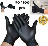 100pcs Black Disposable Gloves Powder Latex Medical Exam Surgical Gloves S-M-L