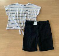 Girls size 8 cotton Stripe t- shirt & black knee length denim shorts Target  NEW