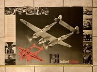"Vintage Aircraft P-38E Lockheed Lightning Poster ""26 x 38"" US Fighter."