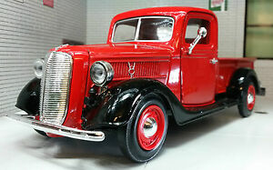 G LGB Scale 1:24 1937 Ford Vintage Lorry Truck Pickup Diecast Model Red