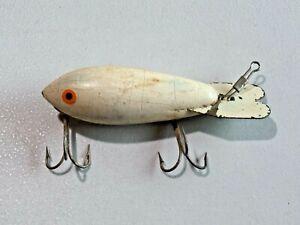 Vintage White Wooden Bomber Fishing Lure Body Bait Crankbait 9066