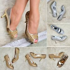 Ladies Embellished Sparkly Mid Heel Party Shoes Peep Toe Pumps Wedding Prom Size
