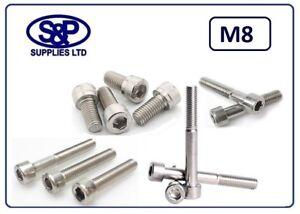 M8  - 8MM ST/STEEL SOCKET CAP ALLEN HEAD SCREW BOLT, FROM 12MM TO 150MM LONG