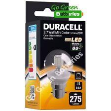 1x Duracell B22 Bayonet 3.7 Watt ( = 26 W) Globe LED Bulb. 275 Lumens Warm White