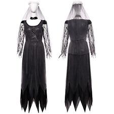 Halloween Ladies Zombie Bride Fancy Dress Dark Ghost Dead Corpse Lady Costume