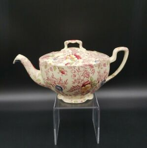 Johnson Bros OLD ENGLISH CHINTZ PINK MULTICOLOR Small Teapot & Lid VERY RARE!