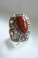 Poderosa + grande piedra joyas anillo dkl. Braun + pedrería tíbet plata NUEVO + Top #005