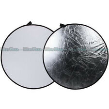 "110cm 43"" 2 in 1 Light Multi Collapsible Photo Reflector Board Disc White/Silver"