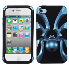 iPhone 4 4S Widow Spider Hybrid Rubber Silicone Case Phone Cover Sky Blue Black