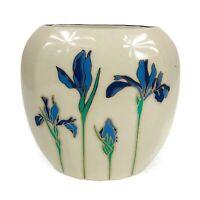 "Vintage 5"" Otagiri ""Iris Rhapsody"" Vase Deep & Light Blue Irises Gold Trim Japan"