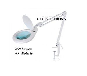 LAMPADA A 56 LED da Tavolo CON LENTE D'INGRANDIMENTO 3 Diottrie 9W Casa Ufficio