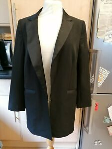 NEW BNWT TAILORED long line black blazer jacket in sz 12 with satin trim wow