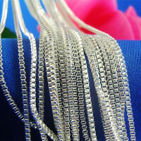 """Wholesale 10pcs 1.4mm 925 Sterling Silver Plated Box Chain Necklace 16""""-30"""" Pick"""