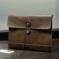 Men Crazy Horse Leather Business Cowhide Envelope Handbag File Document Holder