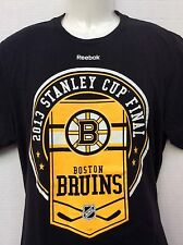 Boston Bruins Reebok NHL Stanley Cup 2013 Black T-Shirt sz L roster on back NWOT