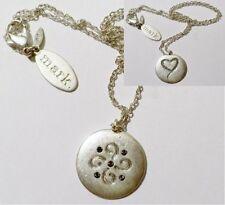 pendentif médaille double face bijou rétro cristaux diamant couleur argent *3360