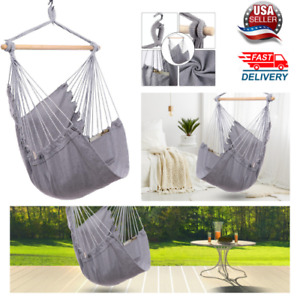 Hammock Chair Hanging Rope Swing-Max 330 Lbs-Quality Cotton Weave,Light Grey
