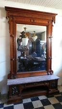 Large Fantastic Walnut Victorian Halltree Hall Mirror w/Brown Marble circa 1875