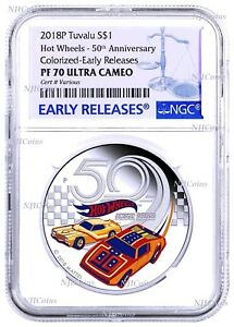2018 HOT WHEELS 50th Anniversary SILVER PROOF $1 1oz COIN NGC PF70 UC ER