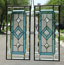 ••We Come in Two's ••Pair of Beveled Stained Glass Window Panels, Hanging