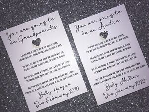 Personalised Baby Pregnancy Announcement Poem Card Any Relation + Envelope