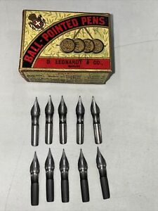 vintage dip nibs X10 NOS D.Leonardt Co Grey ball pointed pen #526f New With Box