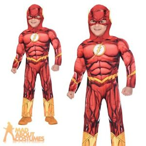 Kids Boys Flash Costume Superhero Book Day Week Childs Fancy Dress Outfit