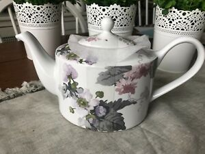 NEW 222 FIFTH PATIO ROSE WATERCOLOR  FLORAL TEAPOT NEW