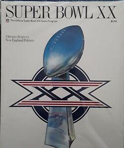 1985 NFL SUPER BOWL XX PROGRAM - NEW ENGLAND PATRIOTS vs CHICAGO BEARS MINT