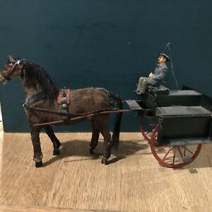 Elastolin: Very Scarce Man With Wagon. Pre War. 120mm Scale
