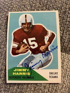 Signed 1960 Fleer Jimmy Harris Dallas Texans Oklahoma Sooners 🏈 Hall of Fame