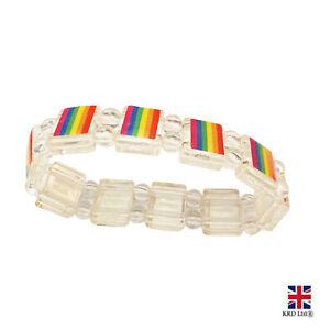 Gay Pride LGBT Rainbow Unisex Bracelet Lesbian Bisexual Trans Jewellery Band UK