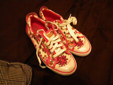 COACH Barrett POPPY White Pink Floral Canvas Leather Sneakers Womens Size 5 1/2