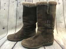 Aquatalia Brown Suede Studded Boots Faux Fur Lining Size 37/7