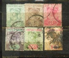 1892-99 Malaysia Malaya Straits Settlements  Stamps 1c to $5. CV Rm 1069