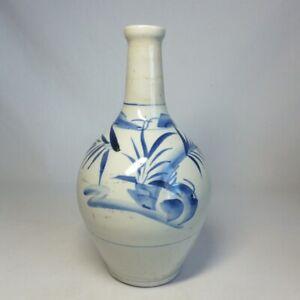 D0898: Japanese bottle or vase of really old IMARI blue-and-white porcelain