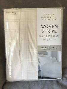 Lines Luxury Hotel Collection Woven Stripe duvet set Pillowcases, Super King NEW
