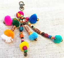 New Hmong Colorful Pom Pom Key Chain Thai Hill Tribe Handmade Bags Accessories