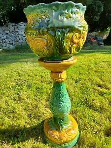 Majolica Jardiniere Large Planter And Plant Stand