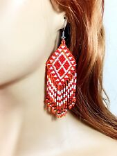NEW HANDCRAFTED FASHION ORANGE BEADED BIG HOOK DROP/DANGLE EARRINGS USA SELLER