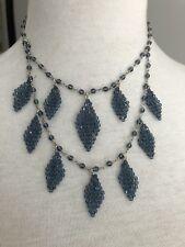 New Auth Chan Luu Allure Swarovski Crystal Tear Drop Tiered Necklace