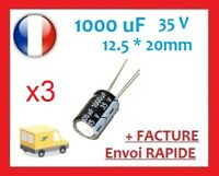 3 CONDENSATEURS CHIMIQUE 1000µF 1000uF 35V RADIAL 105°