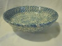 ROSEVILLE BLUE SPONGEWARE BY GERALD E HENN STONEWARE SERVING BOWL 2.5 QT USA